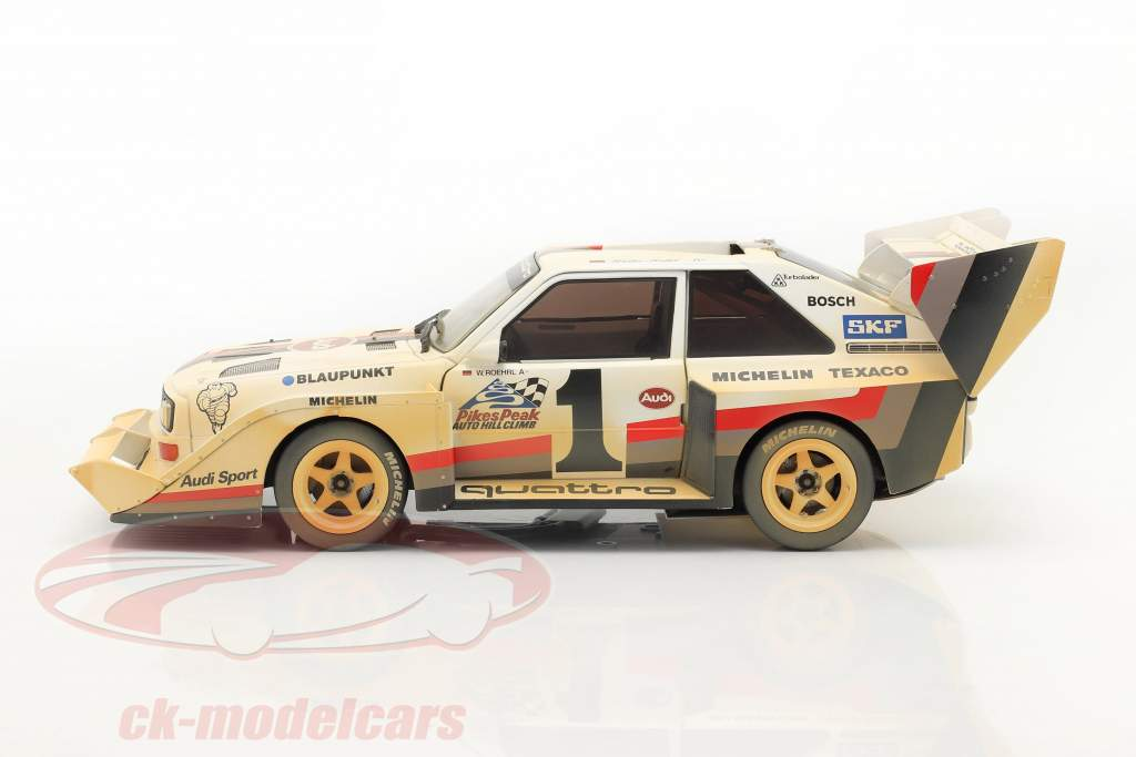 Audi Sport quattro S1 E2 #1 Winnaar Pikes Peak 1987 Röhrl Dirty Version 1:18 CMR
