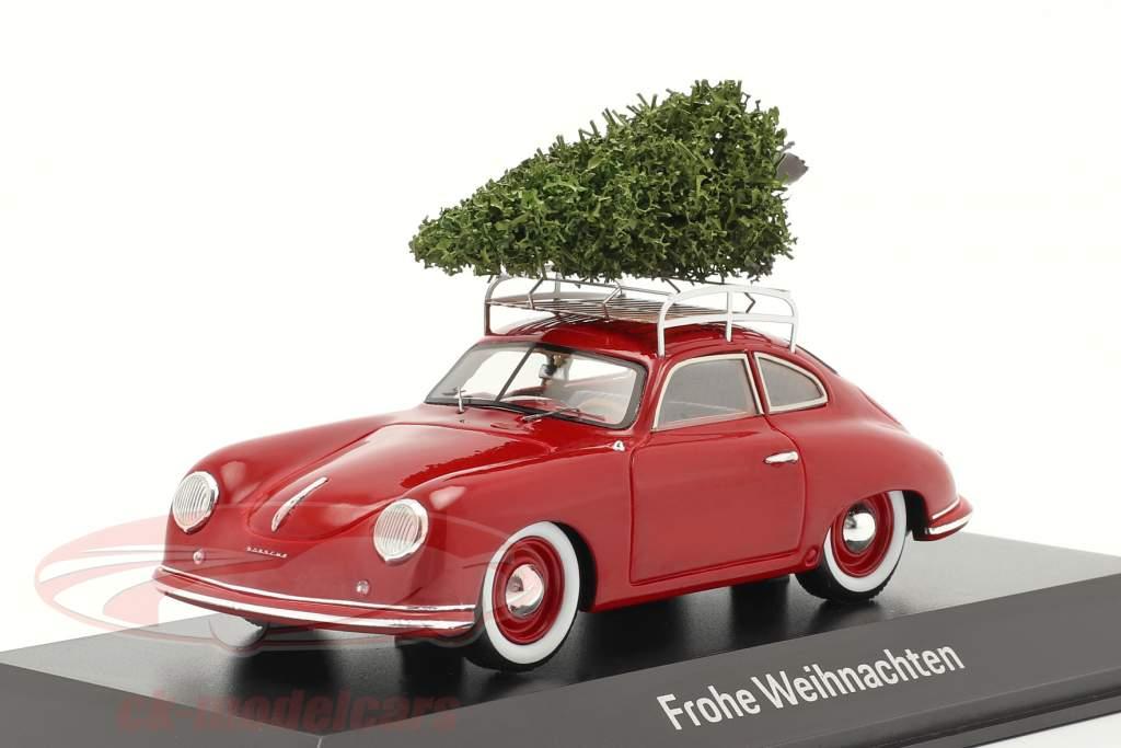 Porsche 356 rood met kerstboom 1:43 Spark