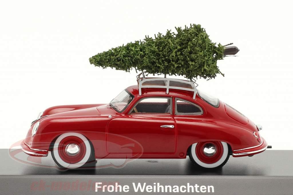 Porsche 356 rouge avec Sapin de Noël 1:43 Spark