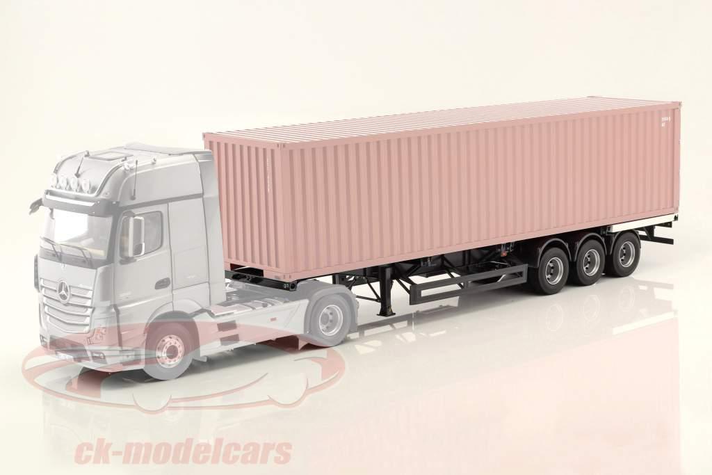 Opleggers Internationale met witter bord voor container 1:18 NZG