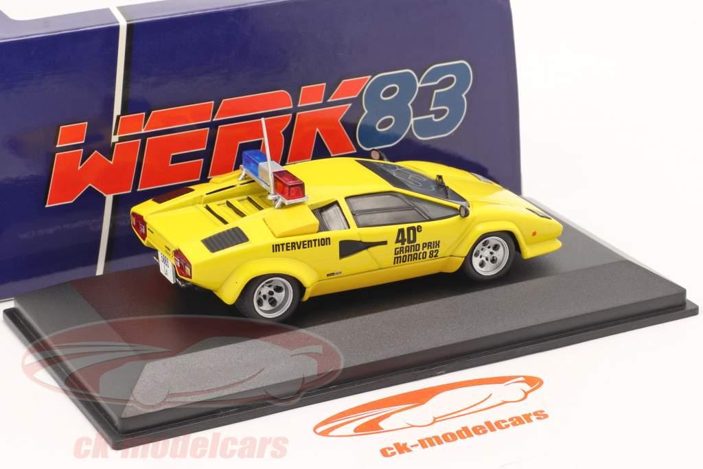 Lamborghini Countach Safety Car Mônaco GP Fórmula 1 1982 amarelo 1:43 Werk83