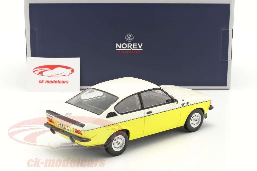 Opel Kadett C GT/E Année de construction 1977 jaune / blanche 1:18 Norev
