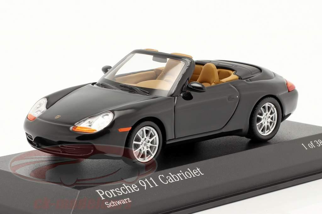 Porsche 911 Cabriolet Baujahr 1998 schwarzmetallic 1:43 Minichamps