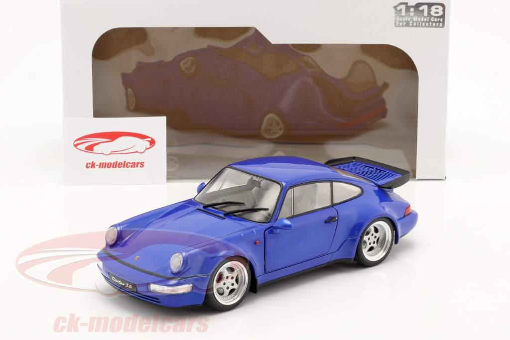 Porsche 911 (964) Turbo Année de construction 1990 electric bleu 1:18 Solido