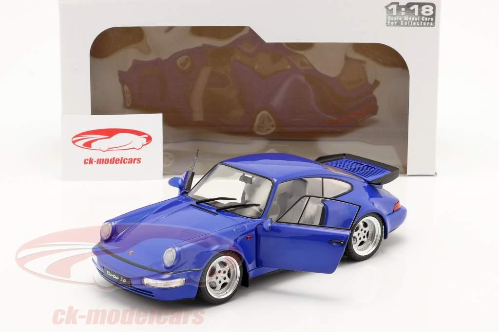 Porsche 911 (964) Turbo Byggeår 1990 electric blå 1:18 Solido