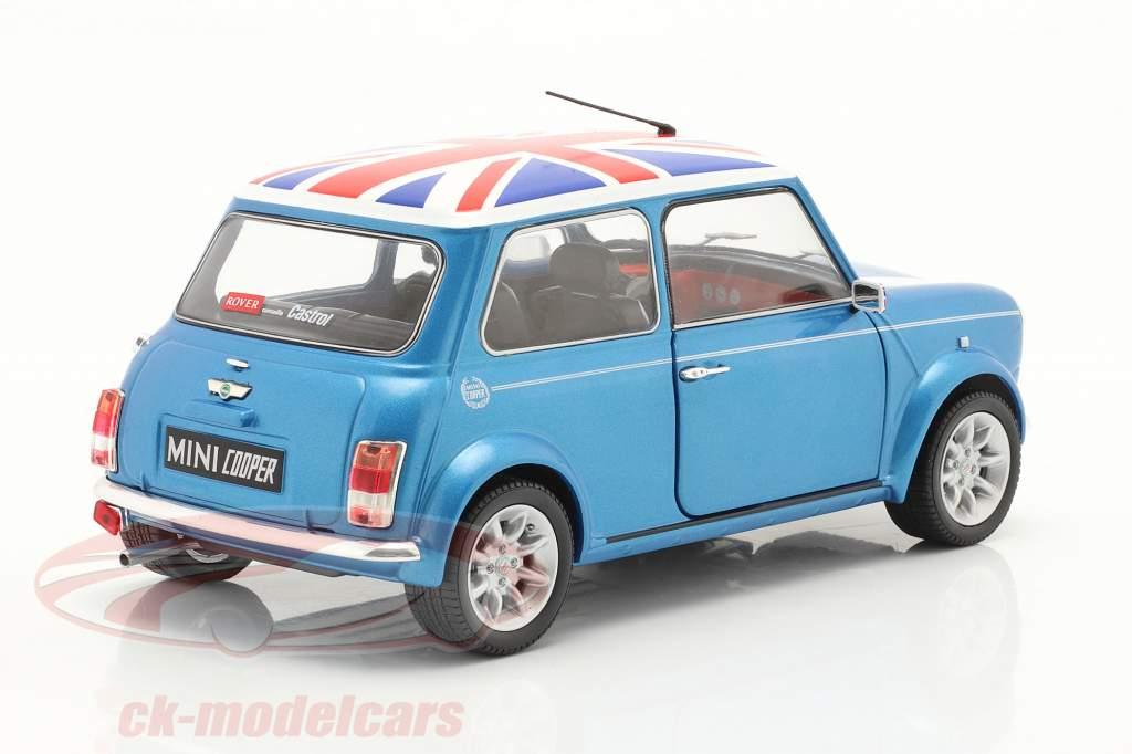 Mini Cooper Sport bouwjaar 1997 visser blauw 1:18 Solido