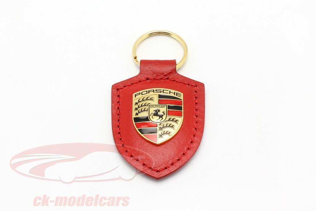 Llavero de cuero Porsche escudo de armas rojo