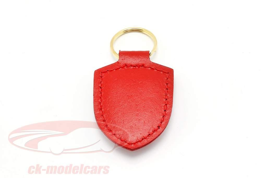 Leather keychain Porsche badge red