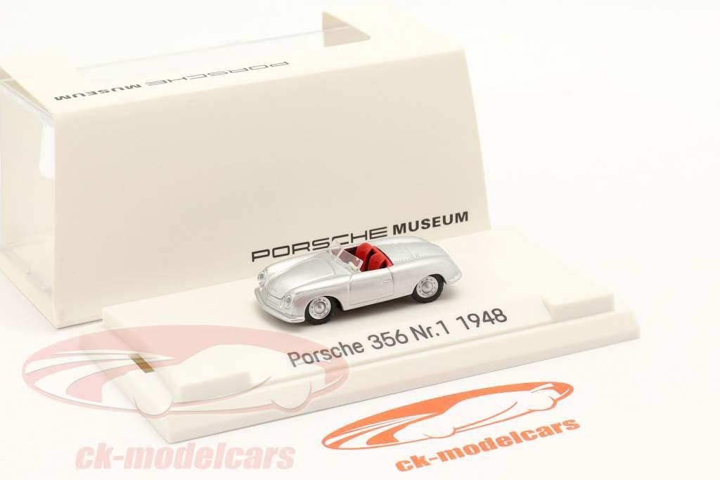 Porsche 356 Nr.1 Roadster Byggeår 1948 sølv 1:87 Autocraft