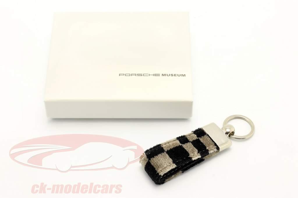 Porsche Llavero original Tela del asiento negro / beige