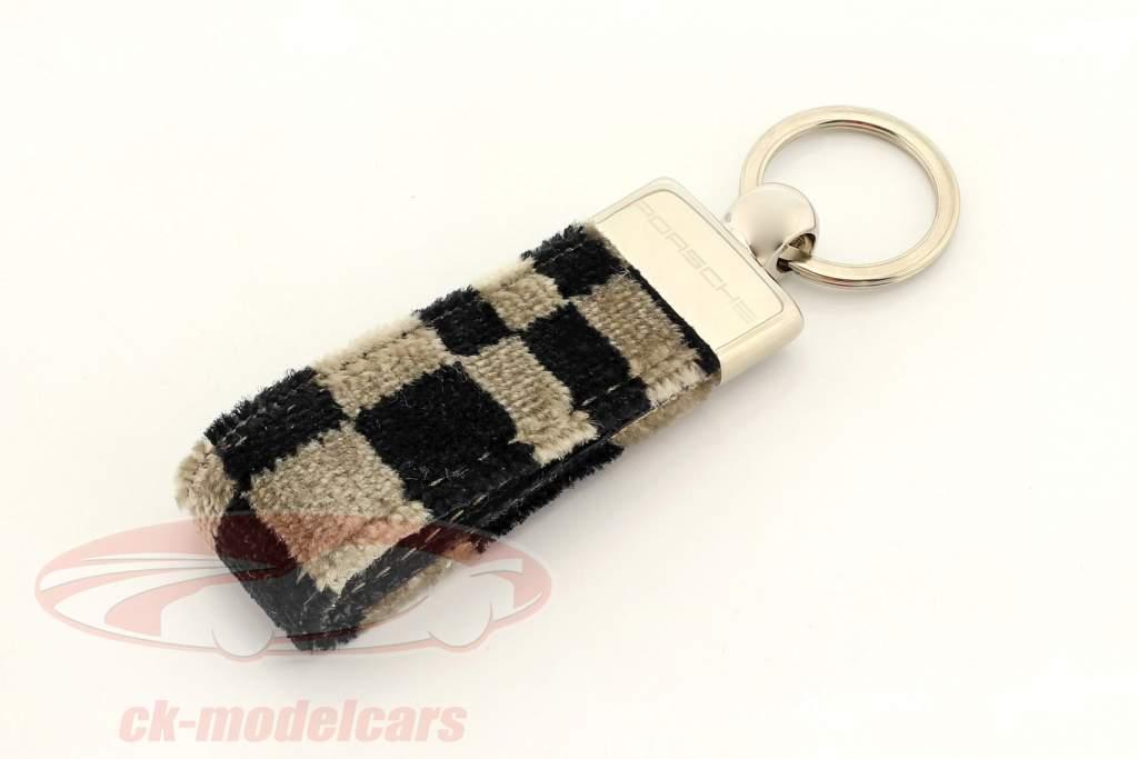 Porsche Key chain original seat fabric black / beige