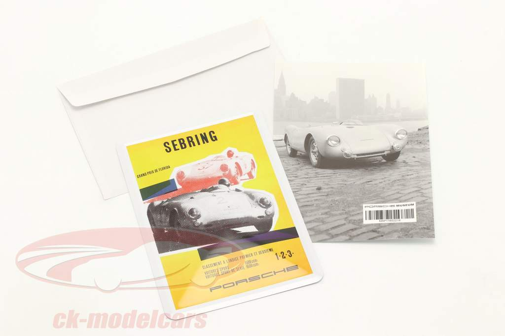 Porsche Metall-Postkarte: Porsche 550 Spyder Sebring