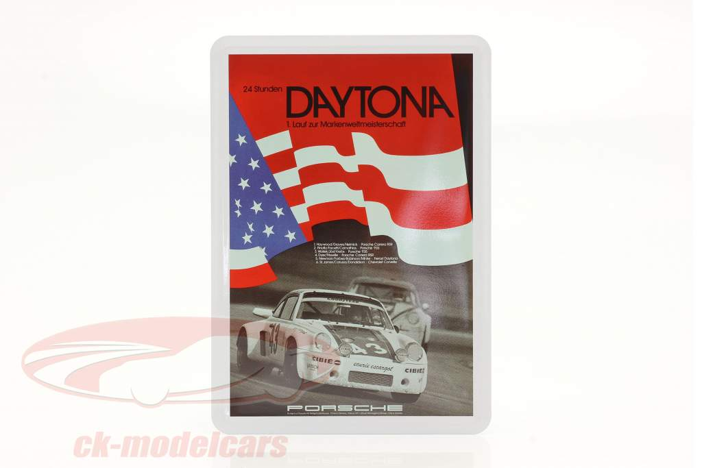 Porsche Metal postcard: flag 24h Daytona 1977