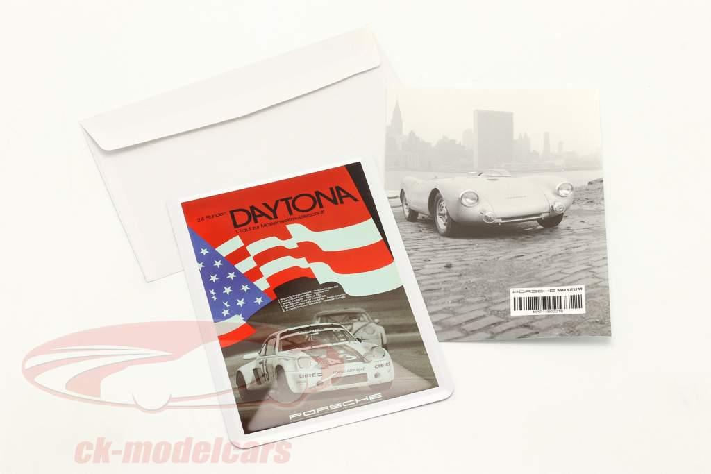 Porsche Metal postkort: flag 24h Daytona 1977