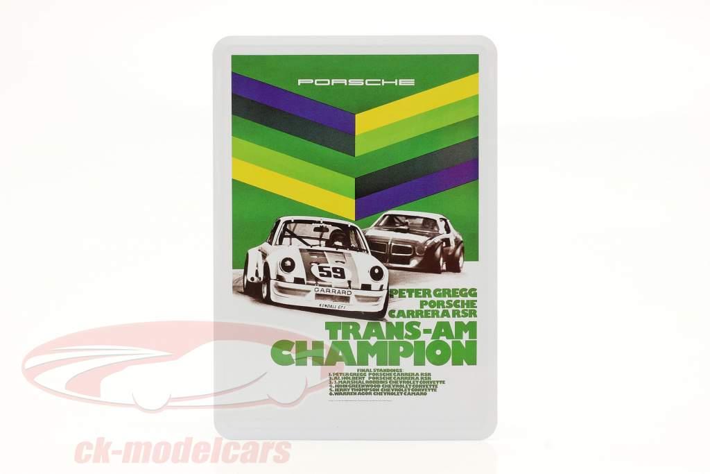 Porsche Metall-Postkarte: Trans-Am Champion 1973 Peter Gregg