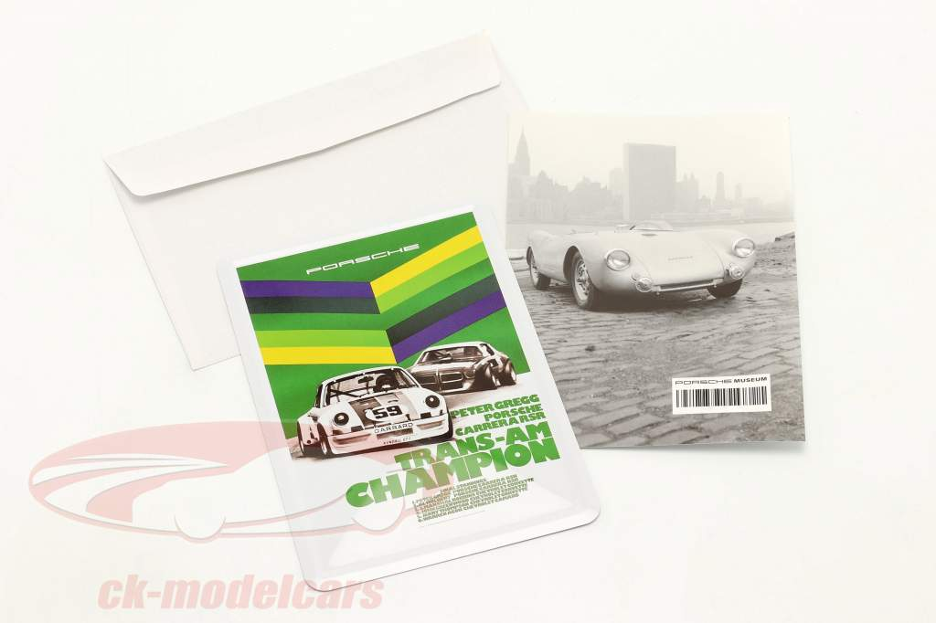 Porsche Metalen ansichtkaart: Trans-Am Champion 1973 Peter Gregg