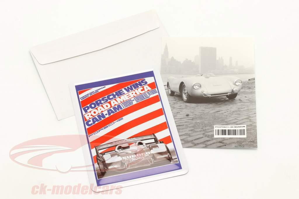 Porsche Metal postkort: Can-Am Road America 1973