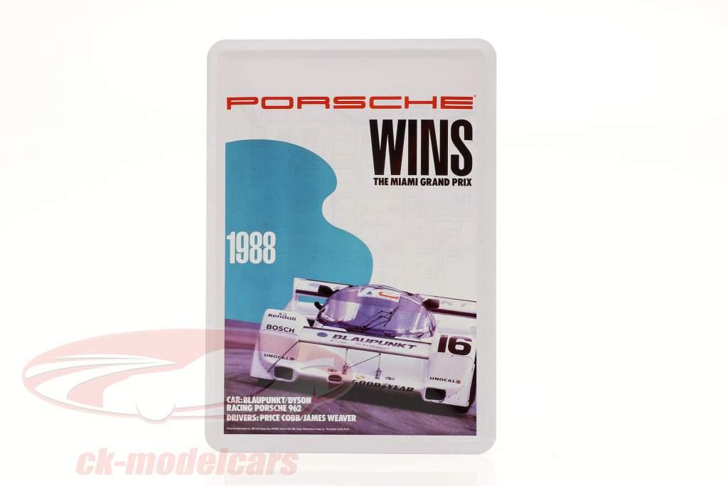 Porsche Metalen ansichtkaart: 3h Miami 1988