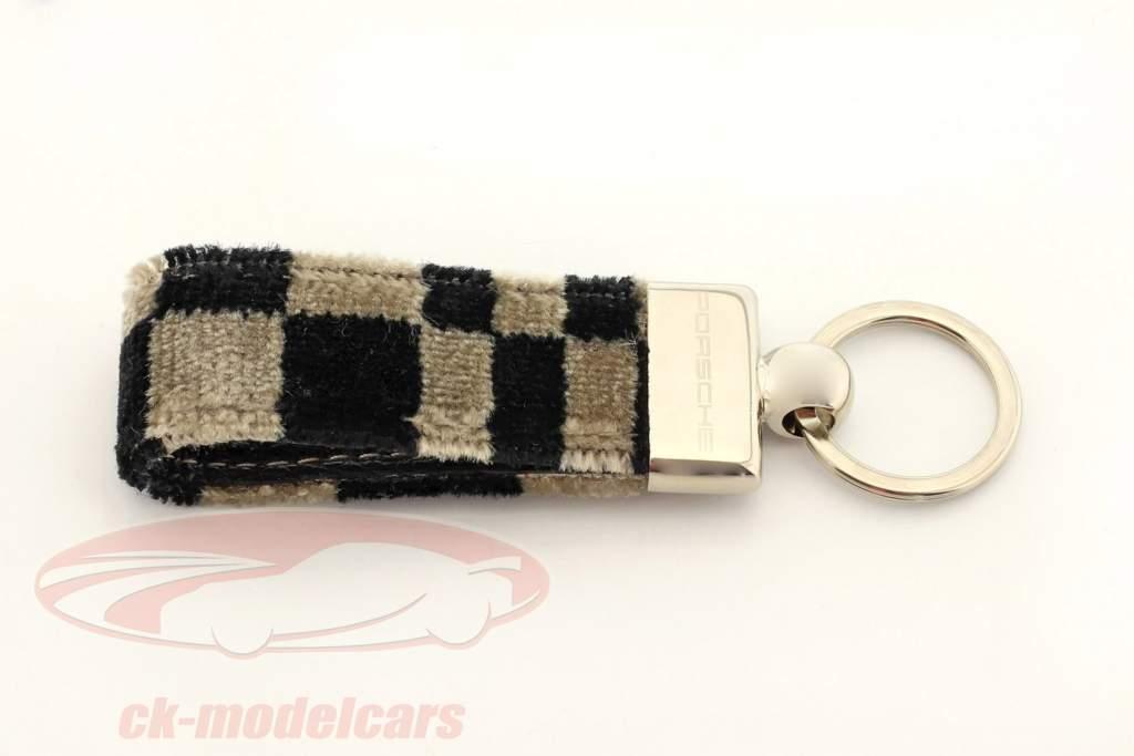 Porsche Porte-clés original Tissu d'assise noir / beige