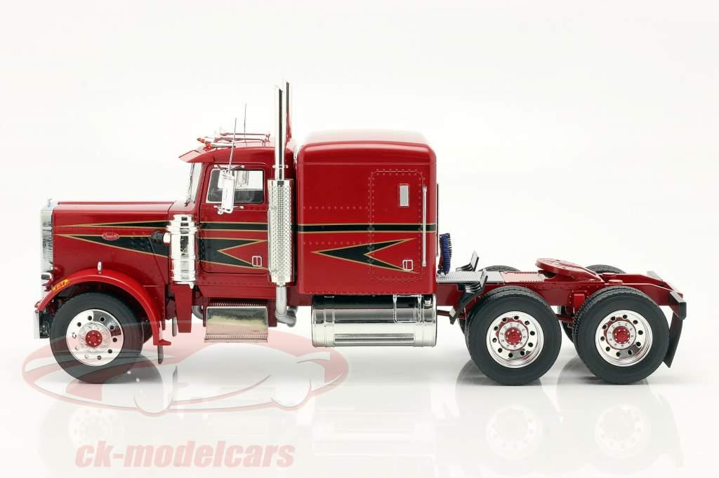 Peterbilt 359 Bull Nose Vrachtauto 1967 rood / zwart 1:18 Road Kings