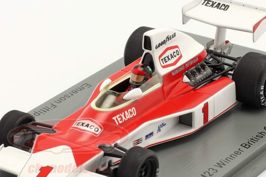 Emerson Fittipaldi McLaren M23 #1 Gagnant Britanique GP formule 1 1975 1:43 Spark