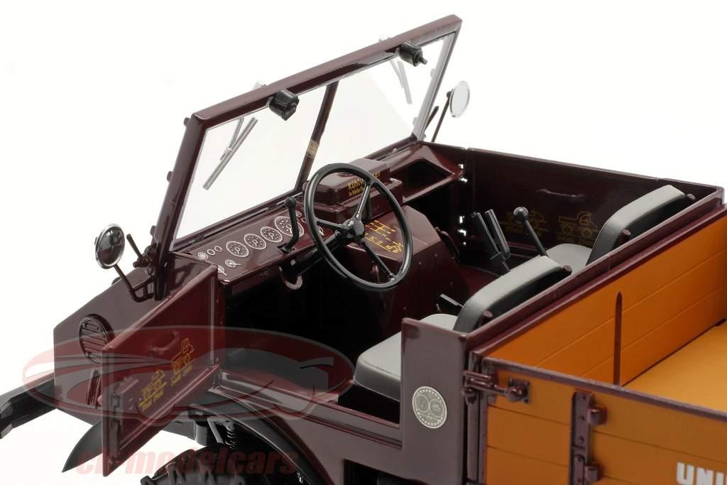 Mercedes-Benz Unimog 401 med Blød top Byggeår 1953-56 Rød 1:18 Schuco