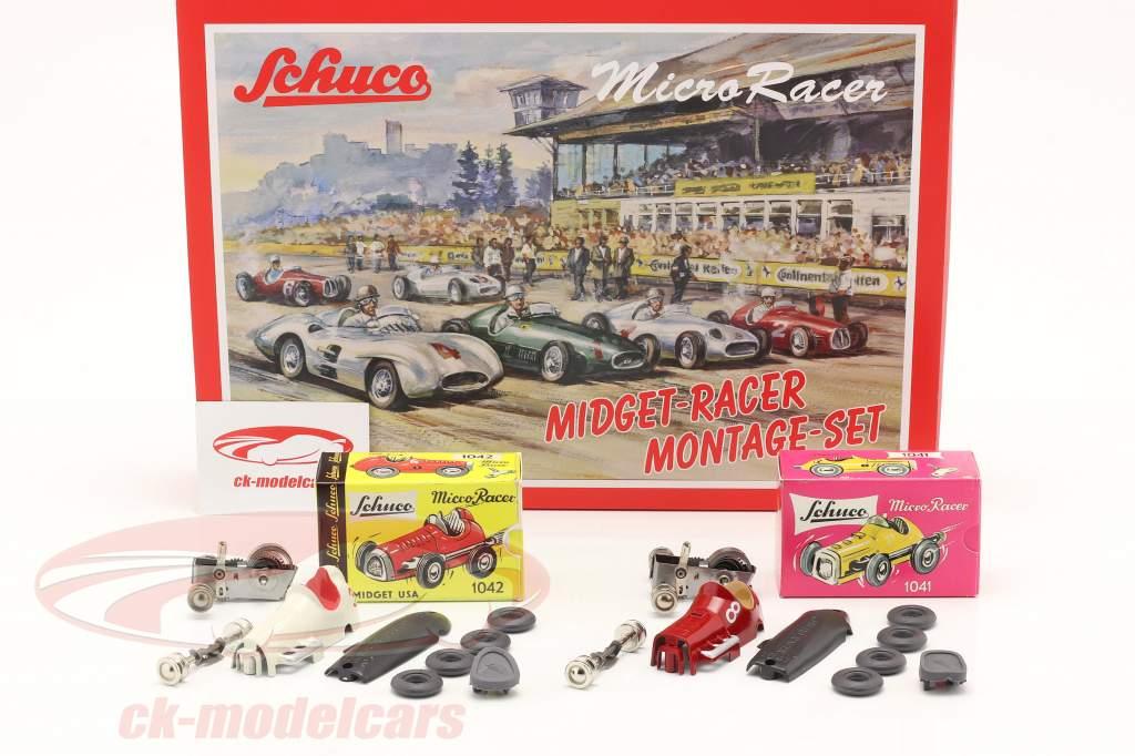 2-Car Micro Racer Conjunto de montaje Midget #8 & #3 1:45 Schuco