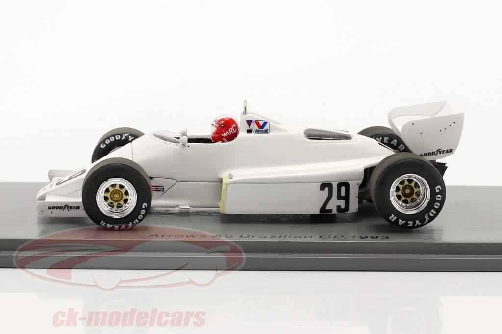 Marc Surer Arrows A6 #29 Sexto brasileño GP fórmula 1 1983 1:43 Spark