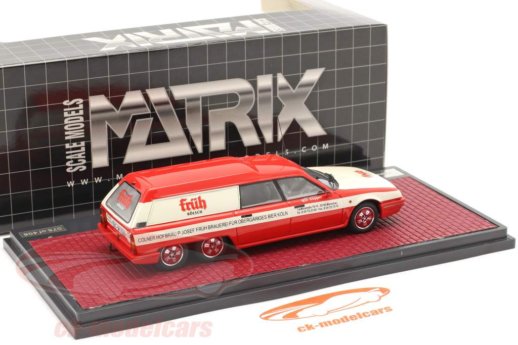 Citroen DX Break Loadrunner Früh Kölsch 1989 rood / wit 1:43 Matrix