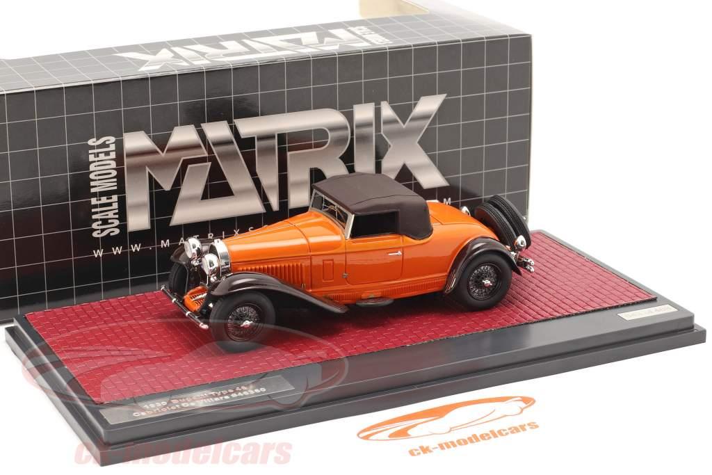 Bugatti Type 46 Convertibile De Villars Closed Top 1930 arancia / Marrone 1:43 Matrix