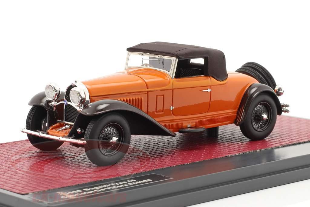 Bugatti Type 46 Cabrio De Villars Closed Top 1930 Oranje / bruin 1:43 Matrix