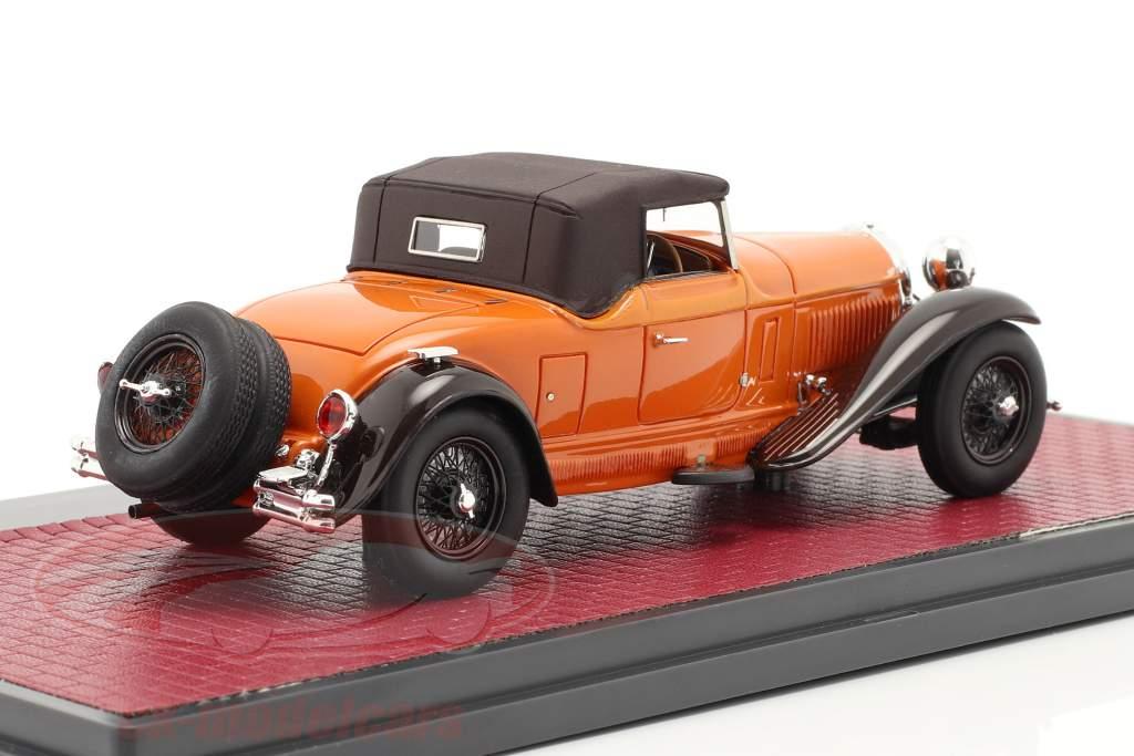 Bugatti Type 46 Convertible De Villars Closed Top 1930 naranja / marrón 1:43 Matrix