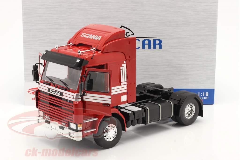 Scania 143 Topline Sattelzugmaschine 1987 rot / silber 1:18 Model Car Group