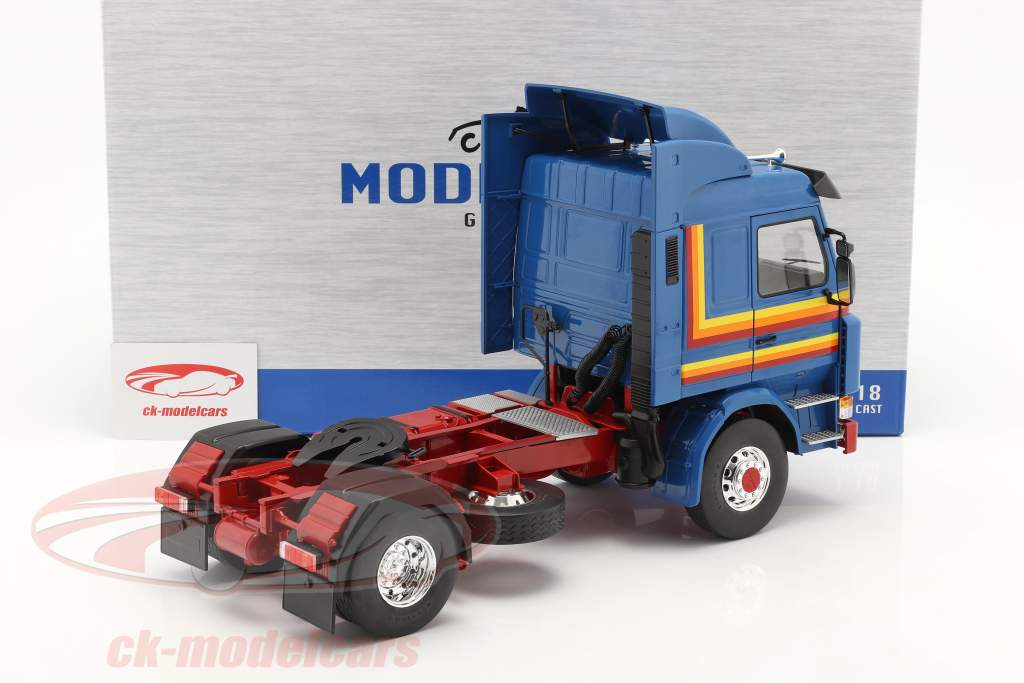 Scania 143 Topline Sattelzugmaschine 1987 blau / gelb / rot 1:18 Model Car Group