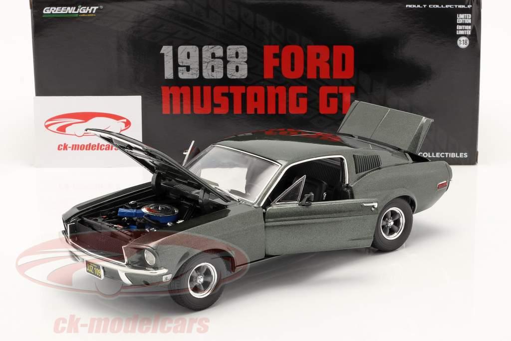 Ford Mustang GT Año de construcción 1968 verde oscuro metálico 1:18 Greenlight