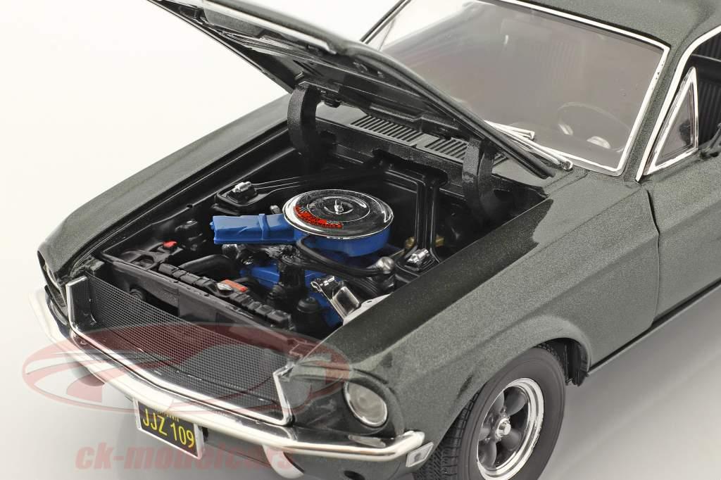 Ford Mustang GT Année de construction 1968 vert foncé métallique 1:18 Greenlight