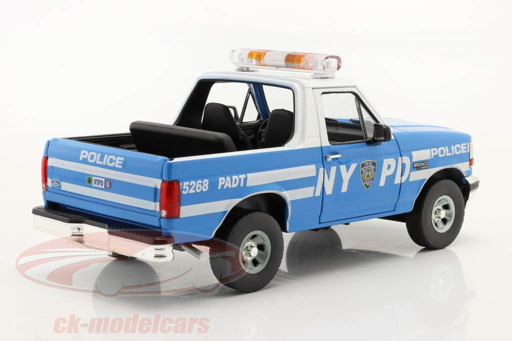 Ford Bronco New York Police Department (NYPD) 1992 bleu / blanche 1:18 Greenlight