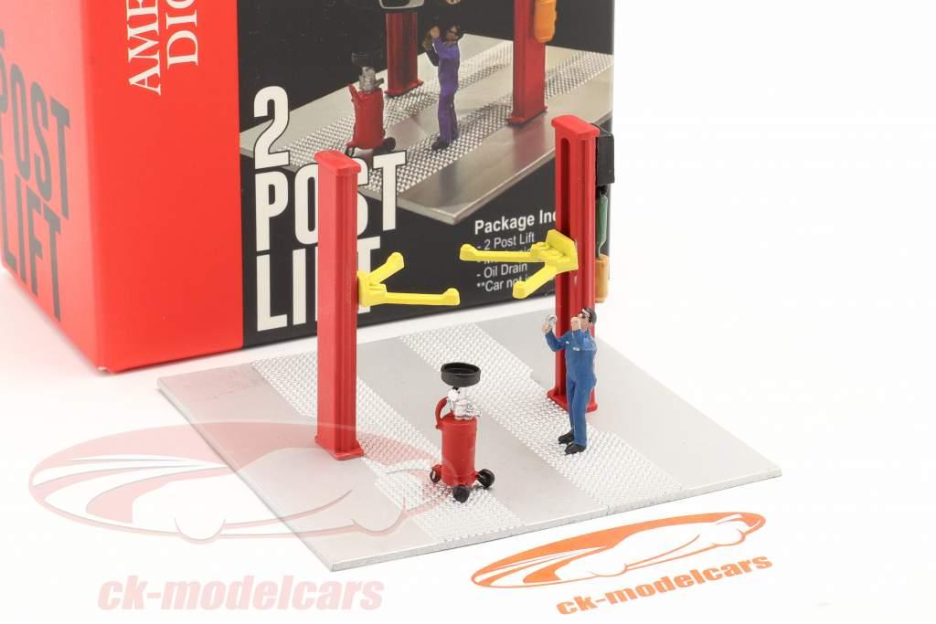 deux postes ascenseur huile égoutter rouge 1:64 American Diorama