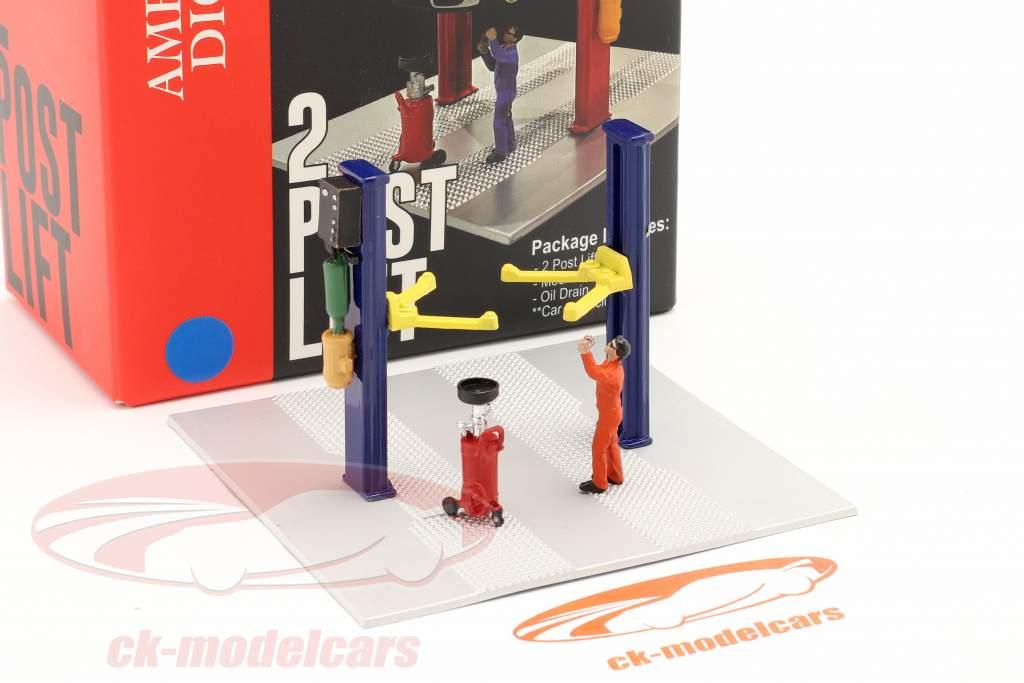 Deux postes ascenseur Huile Égoutter bleu 1:64 American Diorama