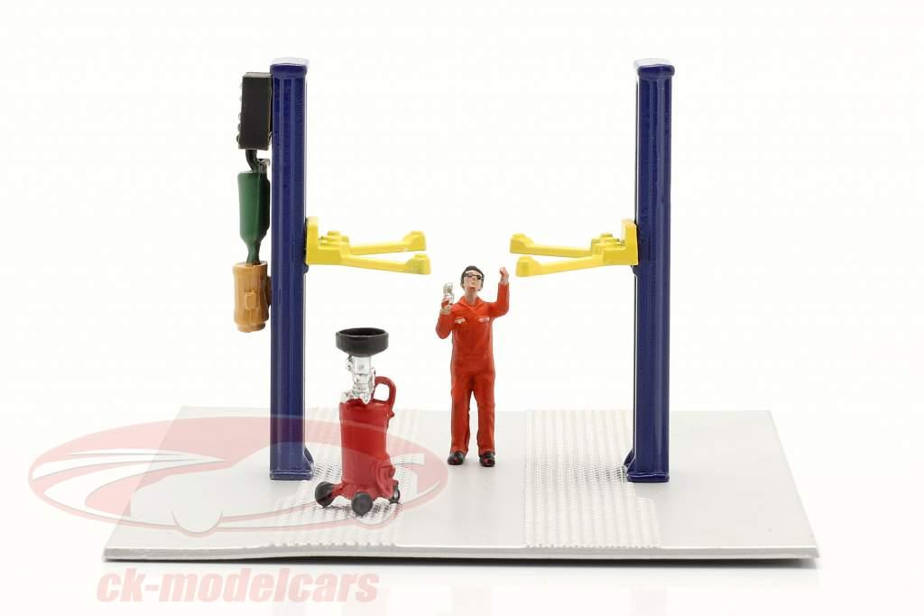 Two post lift Oil Drain blue 1:64 American Diorama