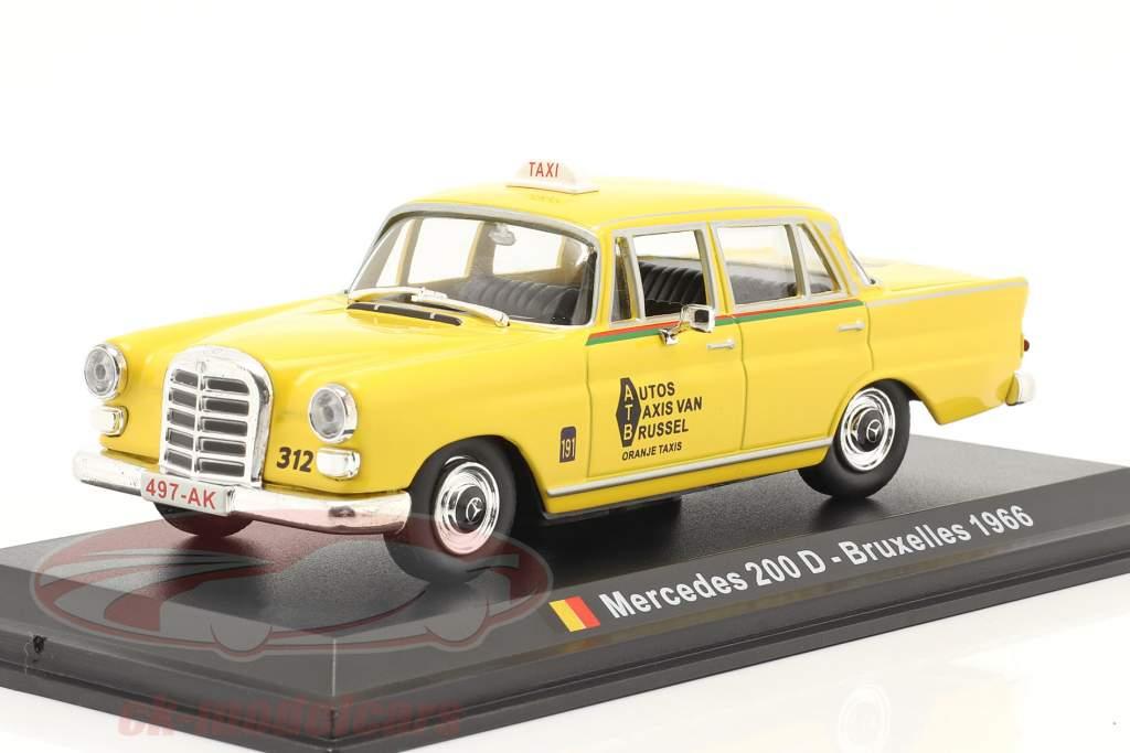 Mercedes-Benz 200 D Taxi Brüssel 1966 gelb 1:43 Altaya