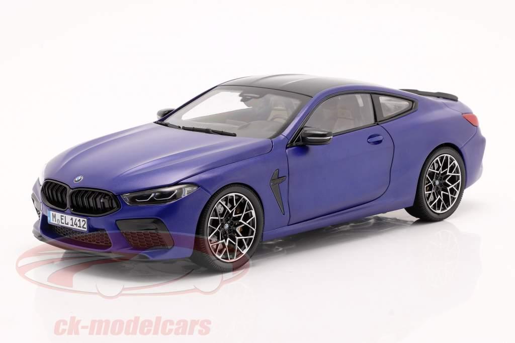 BMW 8 Series M8 Coupe (F92) Byggeår 2020 måtte marina bay blå 1:18 Minichamps