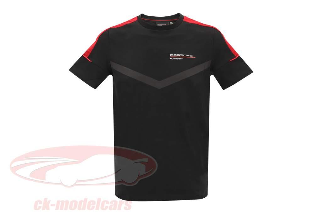 de los hombres Camiseta de manga corta Porsche Motorsport 2021 logo negro / rojo