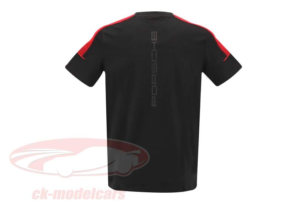 Pour des hommes T-shirt Porsche Motorsport 2021 logo le noir / rouge