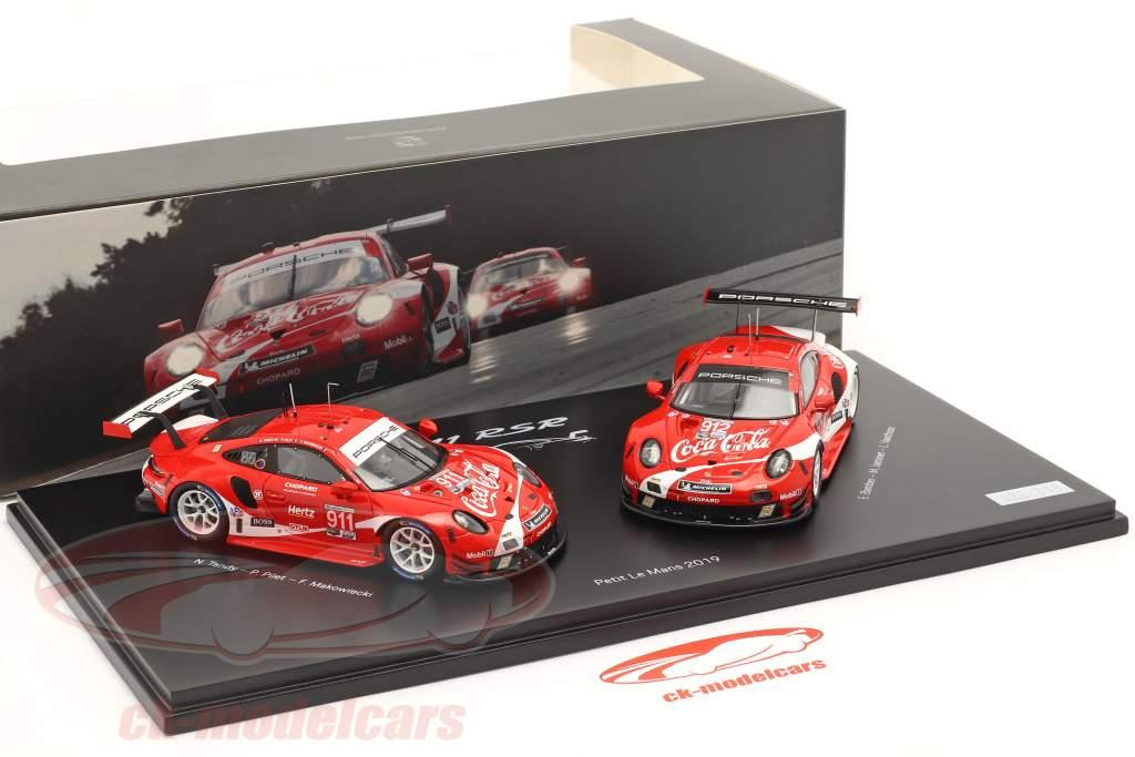 2-Car Set Porsche 911 RSR Coca-Cola #911 #912 Petit LeMans IMSA 2019 1:43 Spark