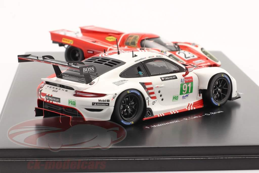 2-Car Set Porsche Salzburg: 917 KH #23 & 911 RSR #91 24h LeMans 1970-2020 1:43 Spark