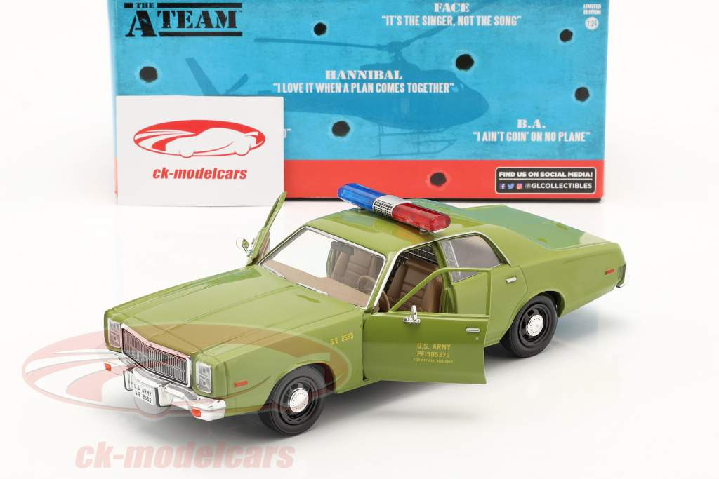 Plymouth Fury 1977 Series de TV Das A-Team (1983-87) Ejército verde 1:24 Greenlight