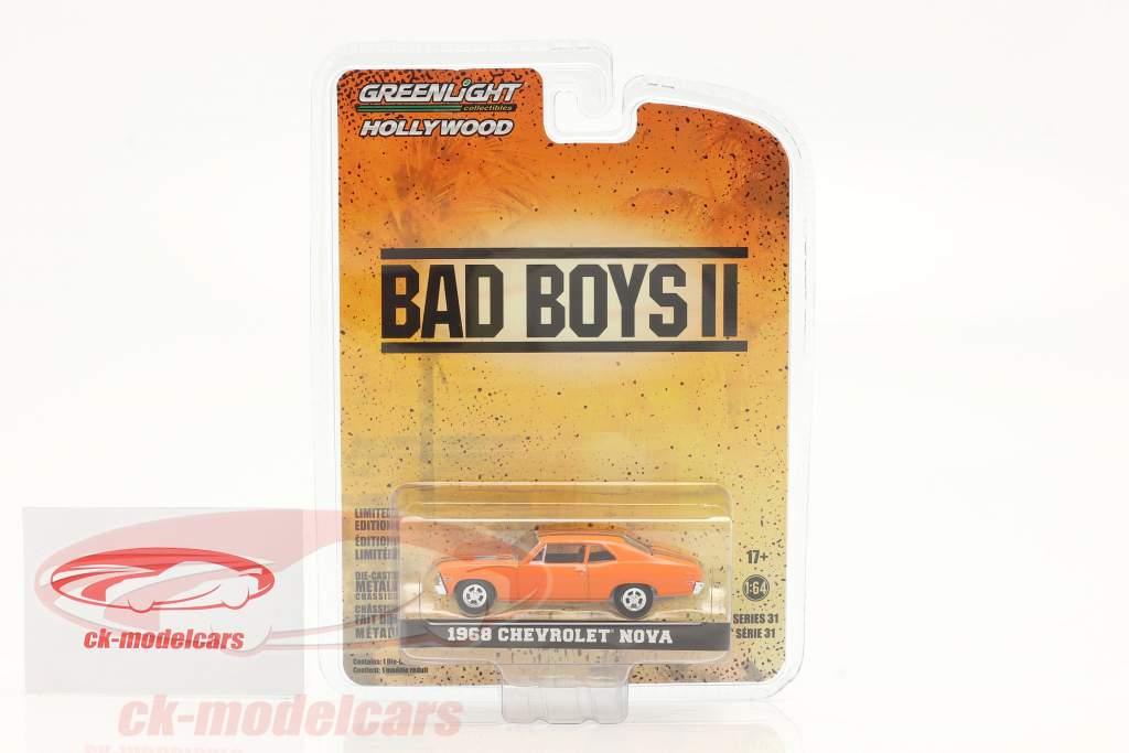 Chevrolet Nova 1968 Película Bad Boys II (2003) naranja 1:64 Greenlight