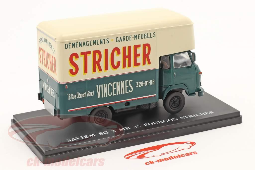 Saviem SG2 MB35 Van Stricher mørkegrøn / fløde hvid 1:43 Hachette