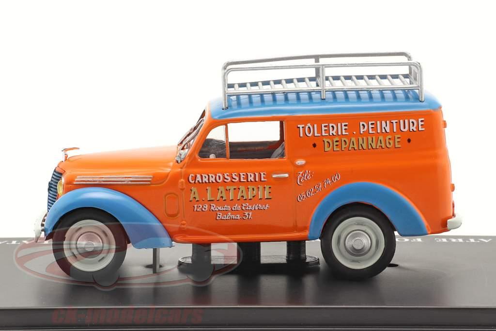 Renault Juvaquatre Fourgonnette Publicitaire Latapie orange / blå 1:43 Hachette